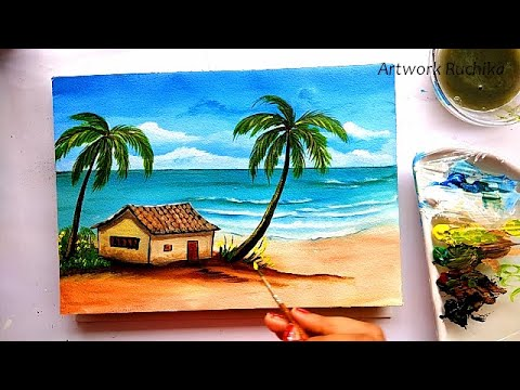 Beautiful Beach Hut Painting | Beginner Seascape Painting | Acrylic Painting