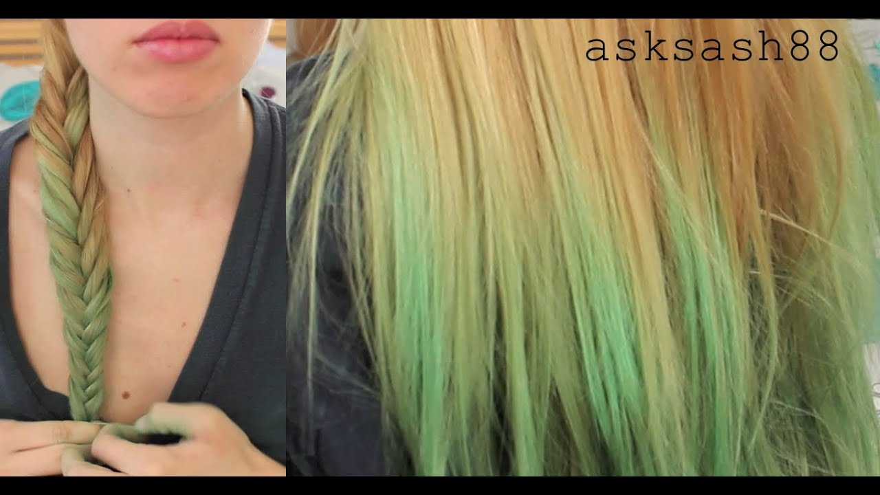 K Style Hair Chalk: Green Ombre Hair Chalking
