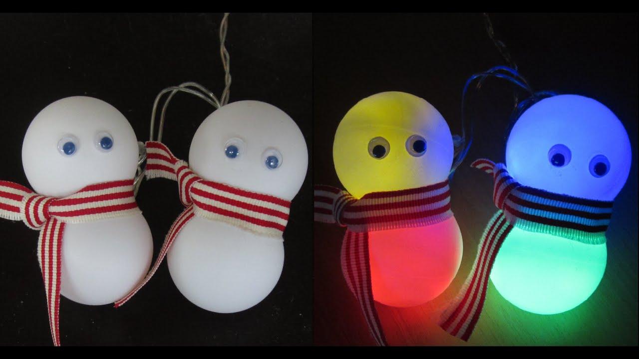diy snowman lights learn how to make an easy snowman decoration ezycraft youtube