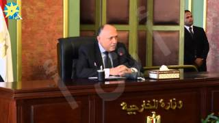 بالفيديو : سامح شكري يلتقى الملحقين العسكريين الجدد