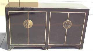 Black Chinese Moon Face Buffet Console Table Cabinet Wk1914