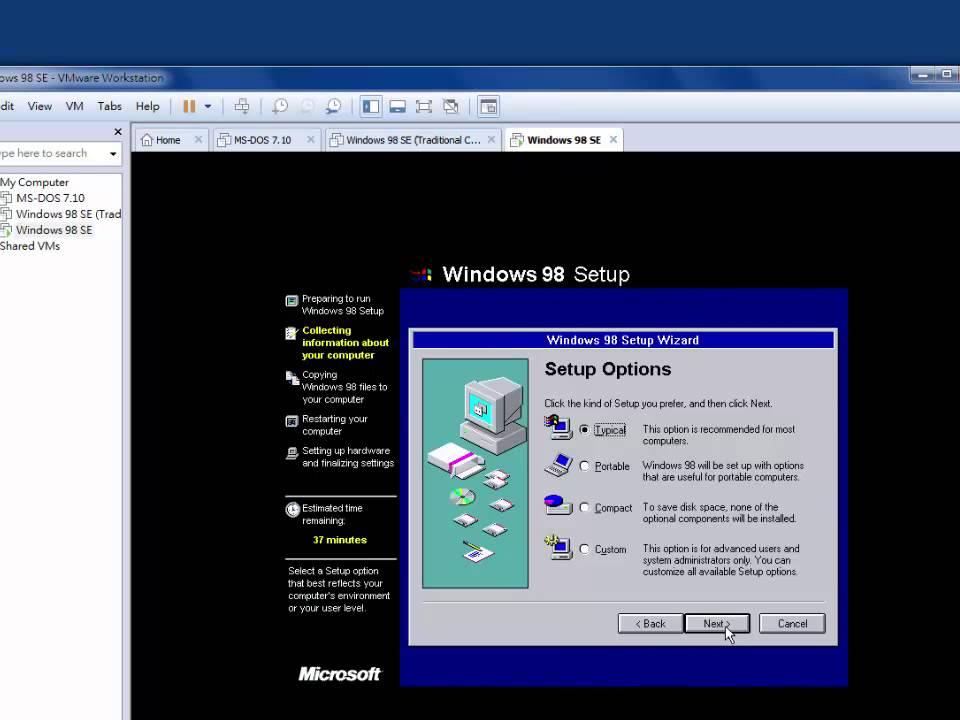 Installing Windows 98 SE In VMWare Workstation Pro 12