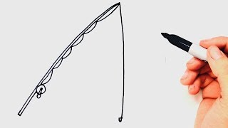 How to draw a Fishing Rod Step by Step | Easy drawings
