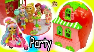 Shoppies Dolls Party At Strawberry Short Cakes House + Season 7 Shopkins Surprise Blind Bags