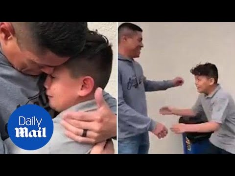 Heartwarming moment dad of autistic boy bursts into tears on seeing ...
