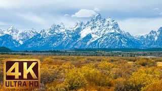 Snow Mountains Relaxation Video in 4K | 2 HRS Birds Singing - Autumn in Grand Teton National Park