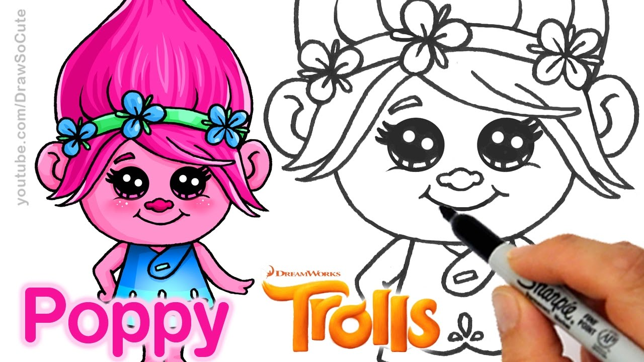 How To Draw Poppy From Trolls Movie Cute And Easy