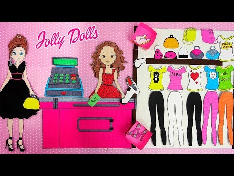 Paper Dolls Shopping New Clothes  & DIY Accessories