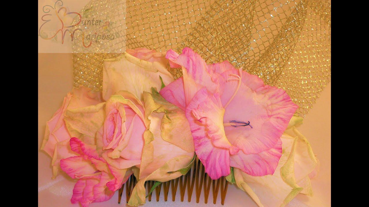 Diy tocado con redecilla y flores naturales youtube - Como hacer adornos para el pelo ...