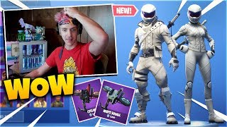 NINJA REACT TO 'NEW' WHITEOUT ' OVERTAKER 'Skins' - Daily Fortnite Funny Moments Ep.4