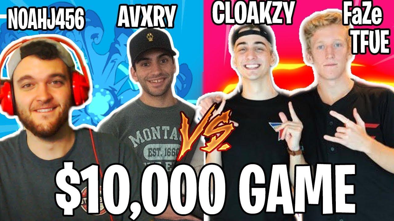 $10,000 TOURNAMENT - FAZE TFUE & CLOAKZY vs. NOAHJ456 & AVXRY! (Full Match Fortnite)