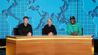 Video Ellen Joins Michael Che and Colin Jost for 'Weekday Update' download MP3, 3GP, MP4, WEBM, AVI, FLV September 2018