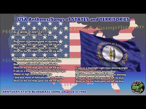 Kentucky State Bluegrass Song BLUE MOON OF KENTUCKY with music, vocal and lyrics