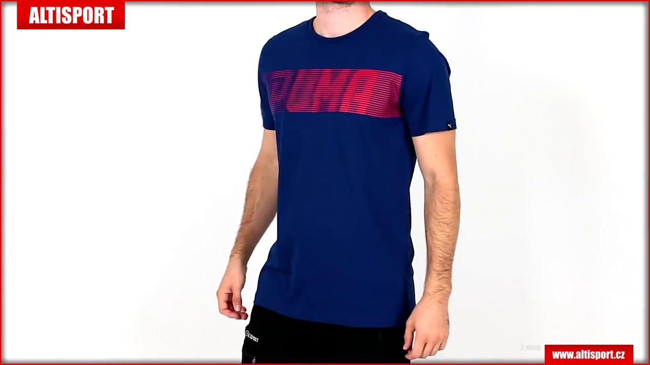 979366ffce31 pánské triko puma brand speed logo tee 57347216 blue depths - YouTube