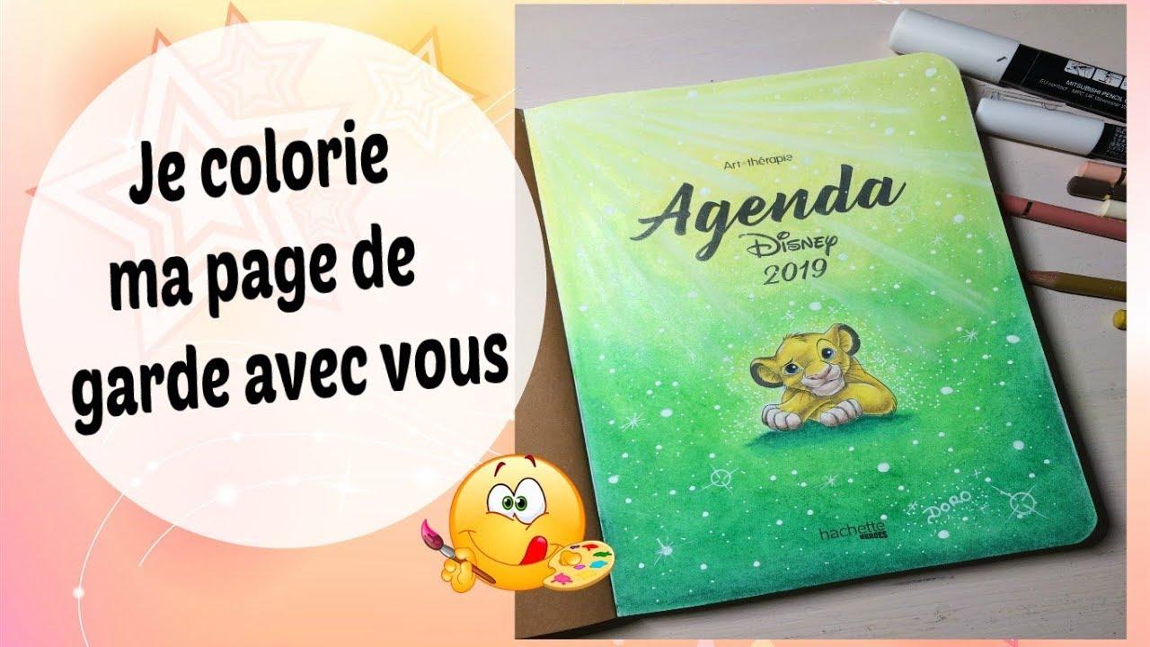 """Agenda Disney 8 """" je colorie ma page de garde avec vous"""""""