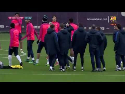 La topada entre  Neymar i Unzué a l'entrenament   www.weloba.cat