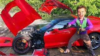 Mr. Joe washed Car Corvette in Car Wash & Broke Corvette with water pressure w/ Video for Kids