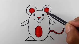 How to Draw and Color a Cute Mouse/Easy Step by Step for Kids.