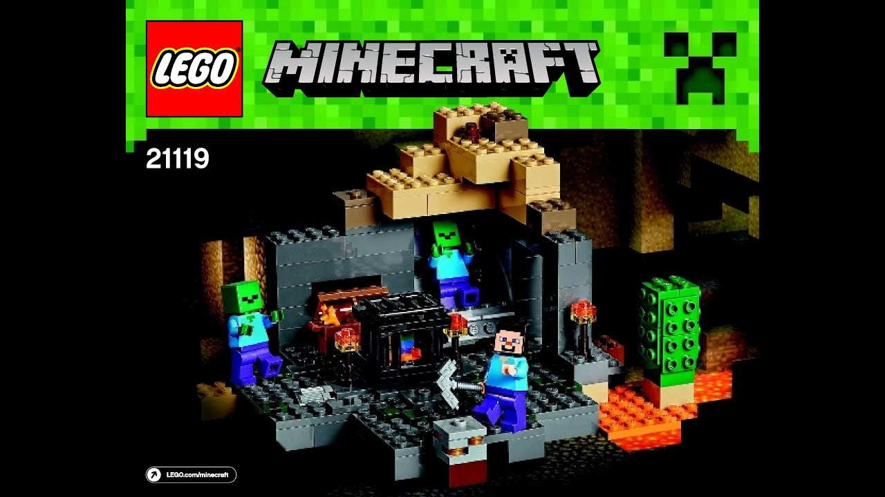 Lego minecraft the cave 21113 playset steve zombie and for Zombie build