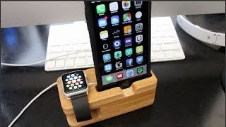 Olixar Bamboo Apple Watch and iPhone Stand/Dock Review!