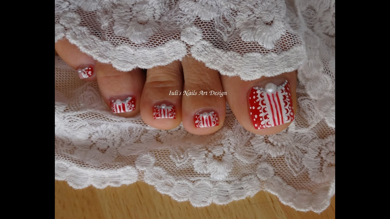 Toes Art Design Xmas Japanese Inspired Red Reverse French Pedicure ...