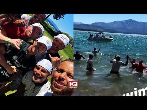 Saul Alvarez & Steph Curry Jump Into Lake With Mardy Fish After ACC Golf Tournament