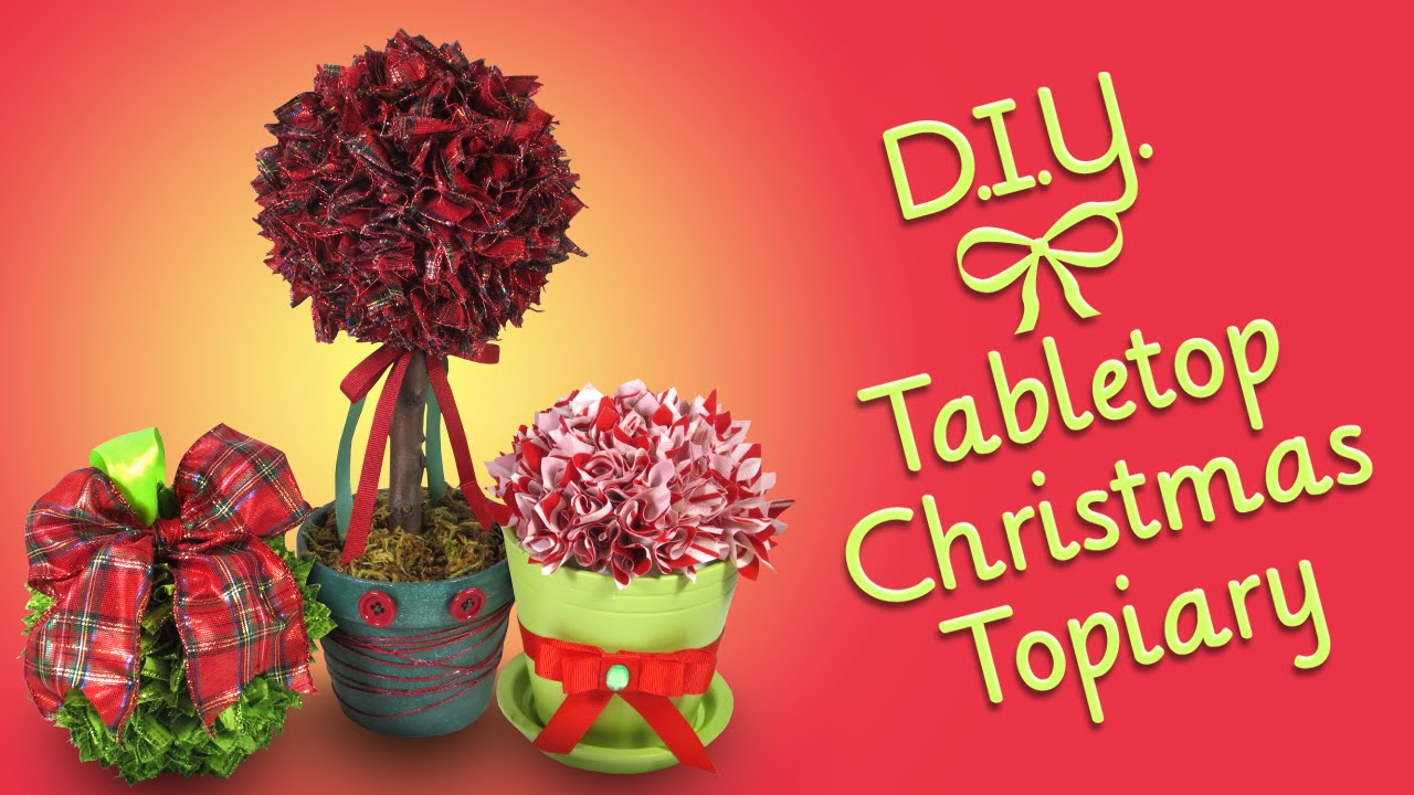 diy tabletop christmas topiary ribbon craftornament and decoration - Christmas Topiary