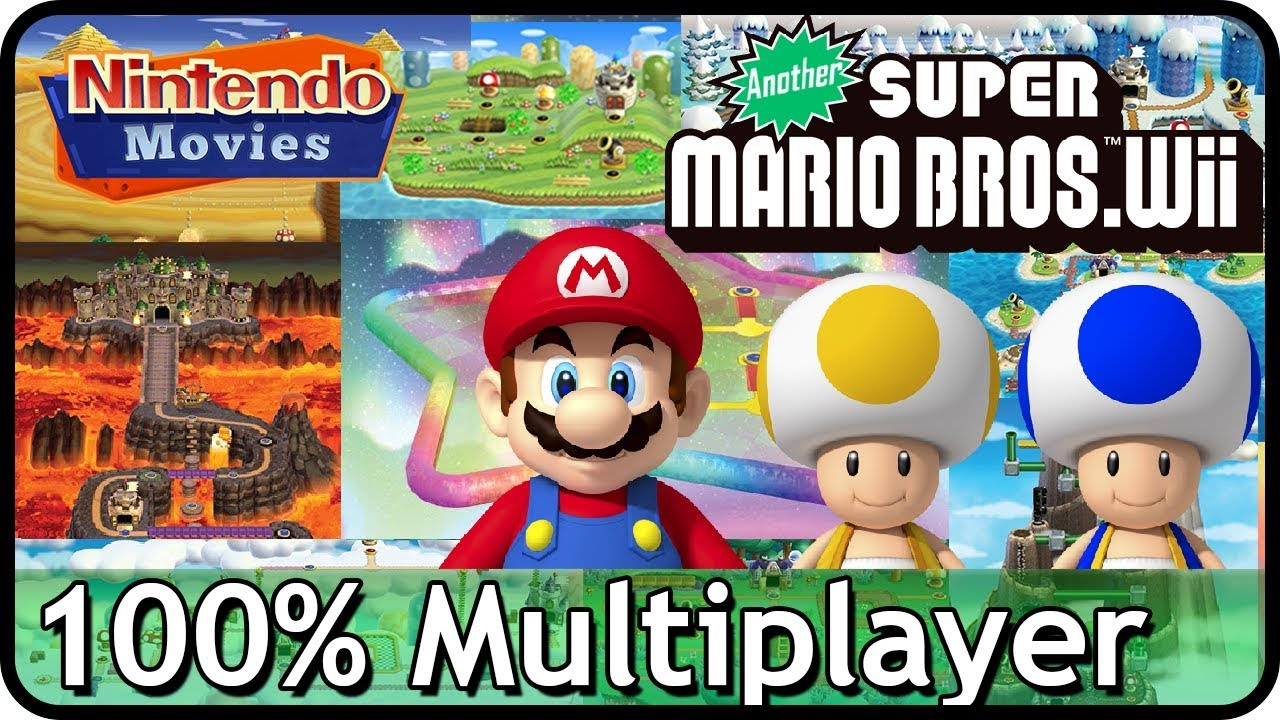 Another New Super Mario Bros  Wii - Full Game (All Worlds, 100% Multiplayer  Walkthrough)