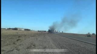 Полностью сгорела Газель в на трассе Атырау Кульсары