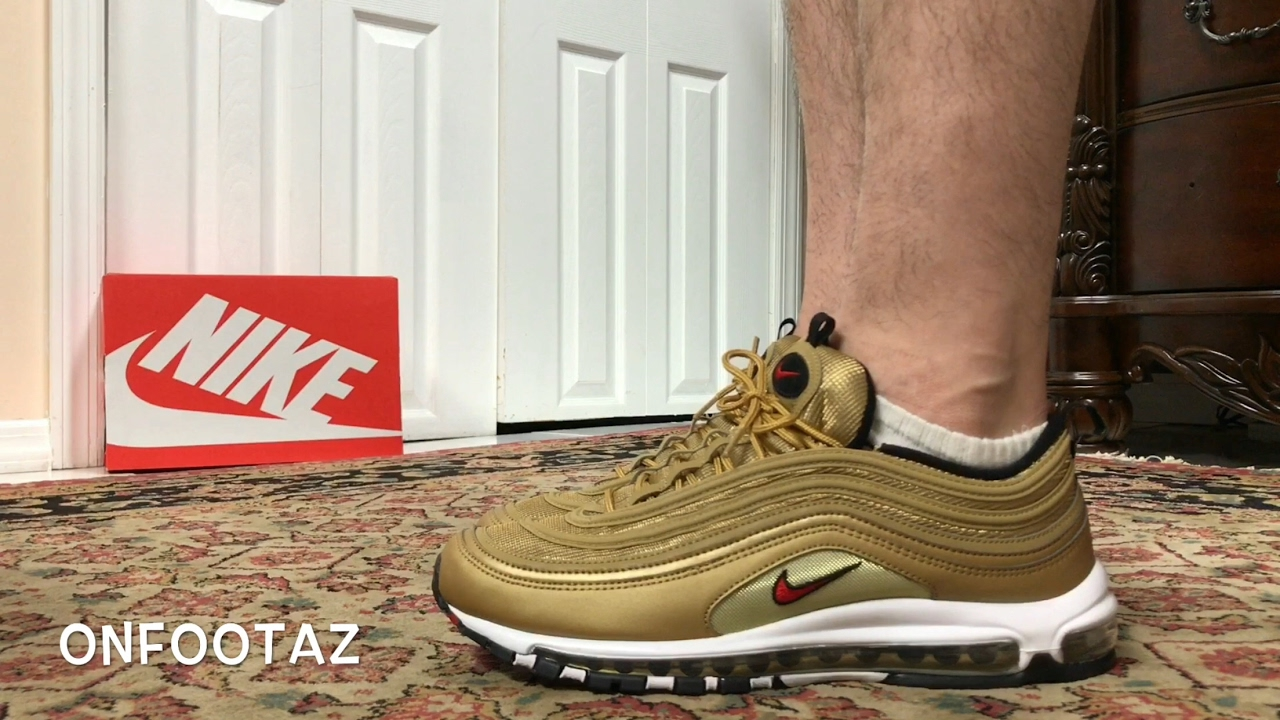 Nike Air Max 97 Metallic Gold On Foot - YouTube a04f3195b