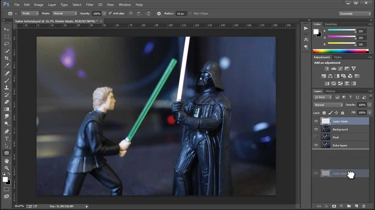 How to make the lightsaber effect in photoshop cc youtube how to make the lightsaber effect in photoshop cc baditri Images