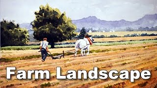 how to paint a landscape - farmer ploughing time lapse
