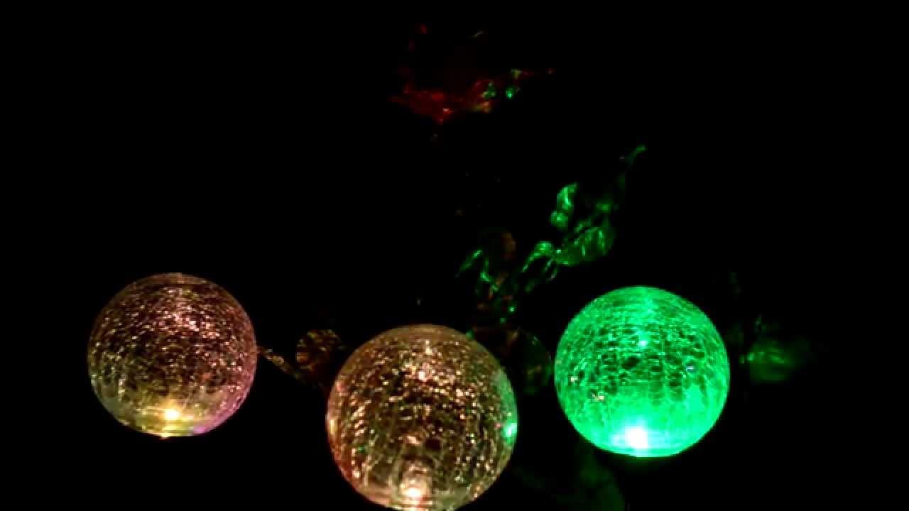 A Set Of Crackle Glass Ball Solar Lights, Color Change LED Light, Solar  Powered