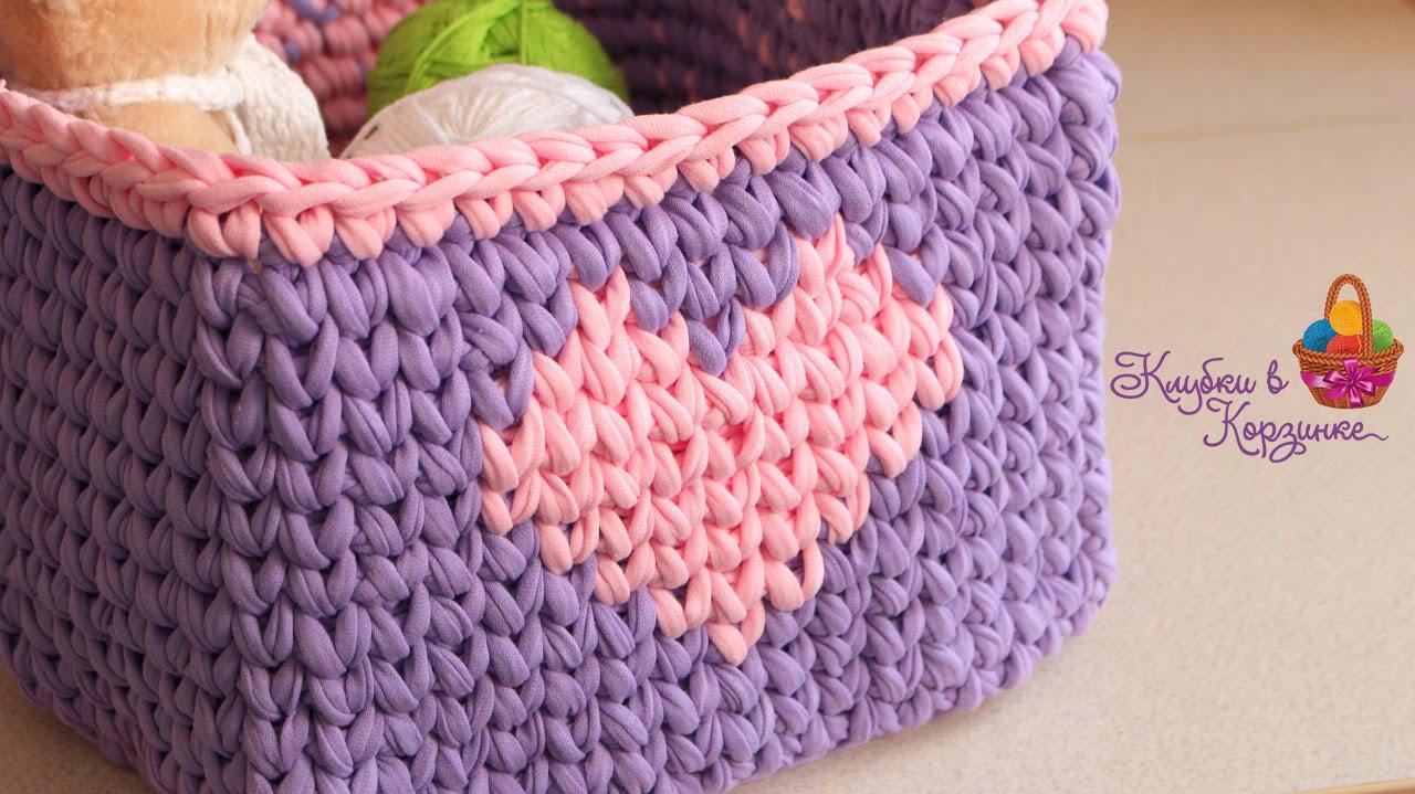 Вязание крючком квадратной корзинки