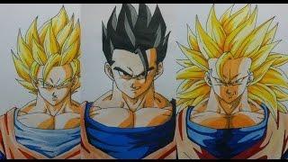 Como Dibujar a Goku SS2, SS3, Gohan, Paso a Paso. How To Draw Goku or Gohan STEP BY STEP