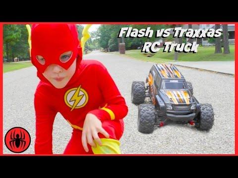 Superman vs FLASH vs RC MONSTER TRUCK Traxxas Edition superhero real life movie comic SuperHeroKids