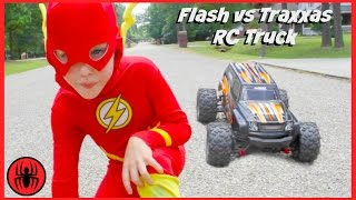 Superman vs FLASH vs RC MONSTER TRUCK Traxxas Edition superhero real life movie comic SuperHeroKids