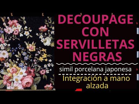 SIMIL PORCELANA JAPONESA CON DECOUPAGE  + INTEGRACION SERVILLETA FONDO OSCURO DIY