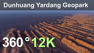 Dunhuang Yardang National Geopark, China. Aerial 360 video in 12K