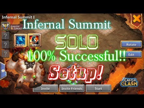 SOLO Infernal Summit 100% Success With Sasquatch!! Castle Clash