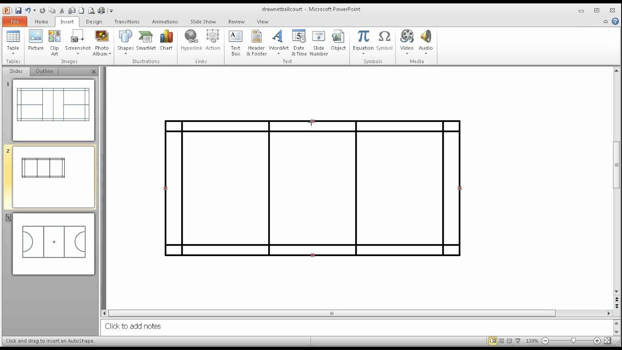step 2 in using powerpoint to draw a to scale badminton court [ 1280 x 720 Pixel ]