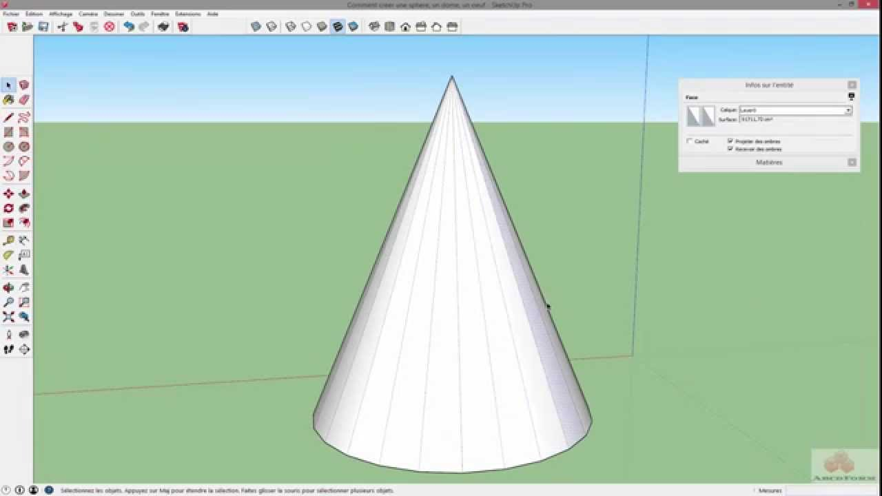 9 Sketchup Comment creer une sphere un dome un oeuf Outil cercle part 2 YouTube