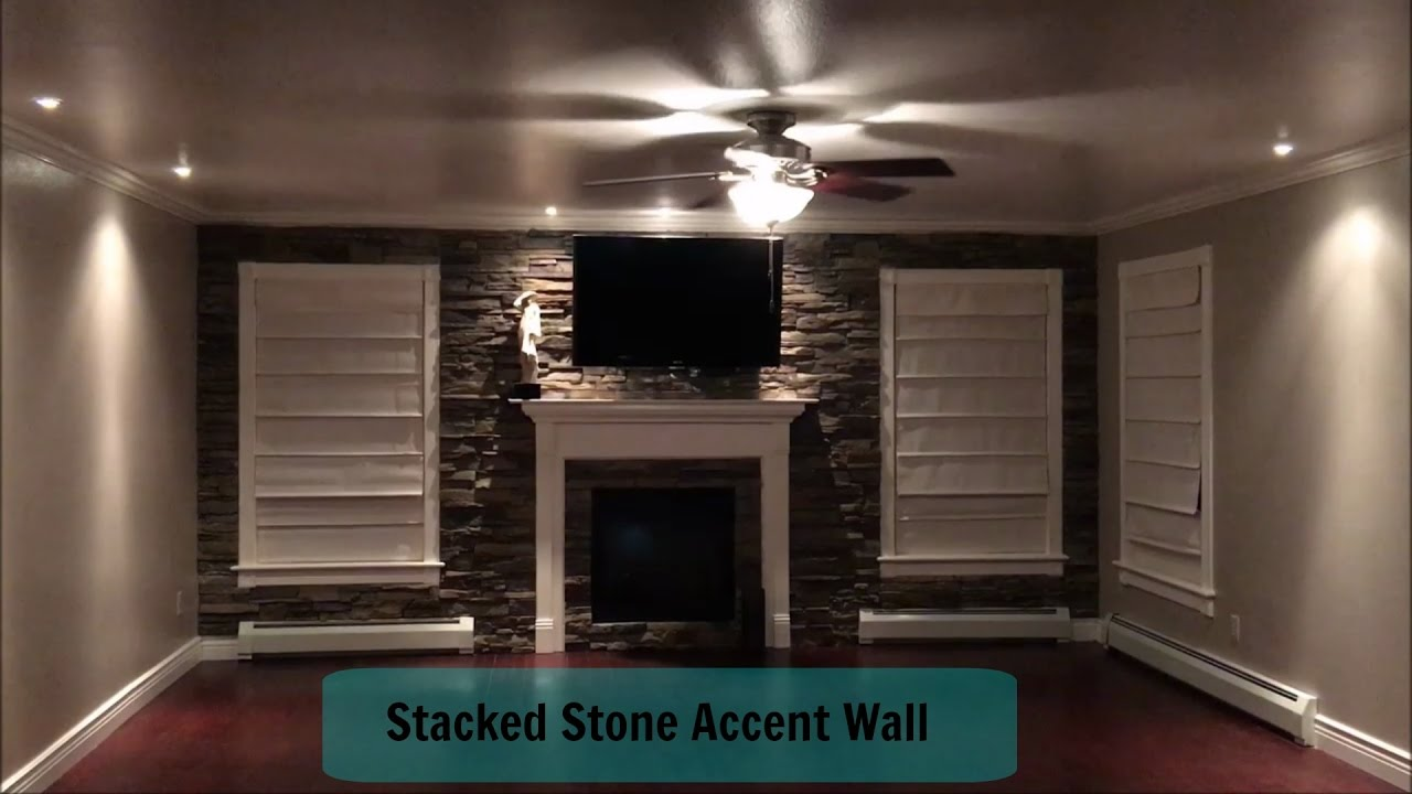 Home Improvement | Living Room | Stacked Stone Accent Wall - YouTube