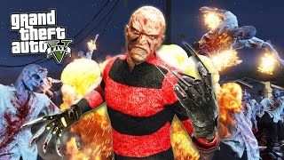 GTA 5 PC Mods - FREDDY KRUEGER vs ZOMBIES!!! A NIGHTMARE ON GROVE STREET! (GTA 5 Mods Gameplay)