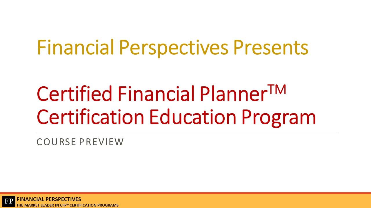 Cfp Certification Education Program Preview Webinar 25 March15