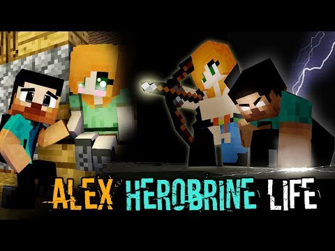 MONSTER SCHOOL : ALEX AND HEROBRINE'S LIFE  - Best Minecraft Animation