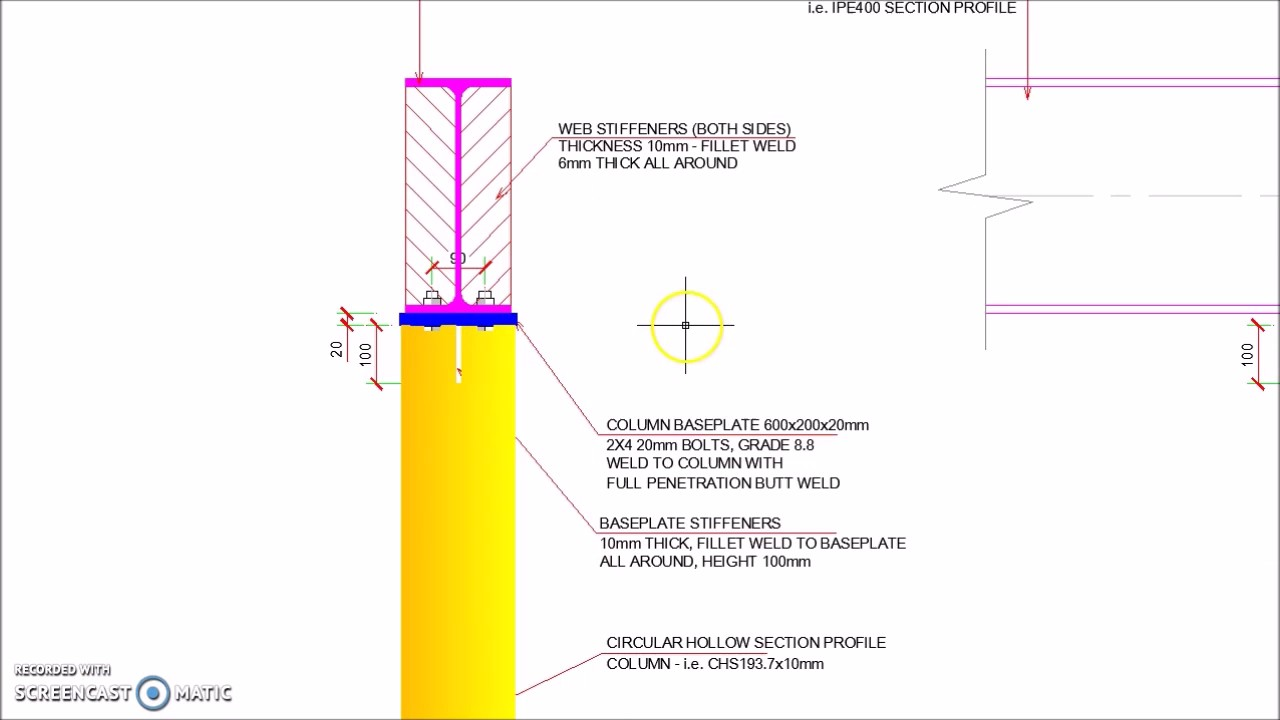 Steel Beam Supported On Top Of Chs Steel Column Detail