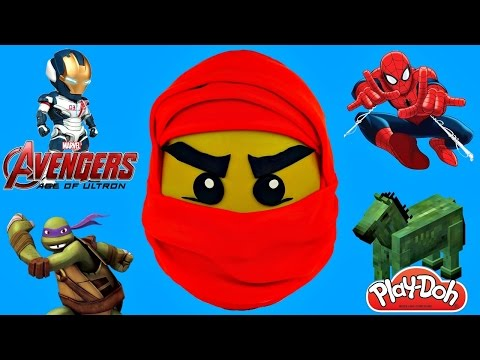 ~*GIANT NINJAGO KAI RED NIJA*~ LEGO Giant  Play Doh Surprise Egg TMNT Spiderman Minecraft