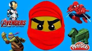 HUGE Kai Red Ninjago LEGO Giant Surprise Egg Play Doh TMNT Spiderman Minecraft Superhero Toys