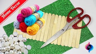 Popsicle stick crafts easy | Home decor with popsicle sticks and wool crafts
